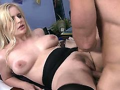 Naughty blonde schoolgirl Danielle Delaunay with whorish nails and big natural tits in stockings and high heels gives head to Johnny Sins and gets boned to orgasm on desk.