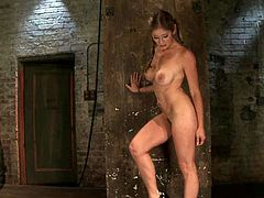 Curvaceous chick with big boobs gets gagged and tied up by another chick. Later on she also gets her pussy toyed.