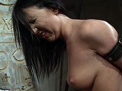 Busty brunette hottie gets abused by voraciuos red-haired domina. She bandages her with leather belts before slapping her naked body intensively in BDSM-involved sex video by 21 Sextury.