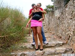 Hot Emma Butt rides a dick and gets a mouthful outdoors