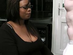Busty Work brings you a very intense free porn video where a busty and fat ebony bitch sucks and rides a hard white cock while assuming very interesting poses.