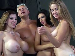 Awesome chicks Amber Cox, Kimber Day and Sara Jay are having fun with a few sexy studs indoors. The beauties show their cock-sucking skills to the men and then get their vags drilled like never before.