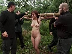 Two blondes and a brunette get tied up somewhere in the forest. They get their tits twisted and pussies toyed by their masters.
