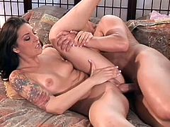 Perverted beauty was fucked in her tattooed body