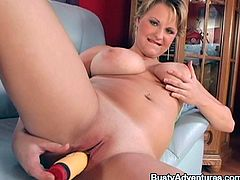 Would you like at this slutty mom! She has a healthy, voluptuous body and between those delicious thighs she keeps a tight, bald pussy that makes us drool. The blonde mom plays with her boobs in front of us and then uses a dildo to fuck her vagina. She's delicious so let's give her the attention she deserves