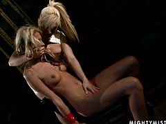 Slender blond amateur gets suspended while an insatiable domina squeezes her tits and mauls her ass. Later she moves her hand towards her soaking cunt to finger it zealously in BDSM-involved sex video by 21 Sextury.