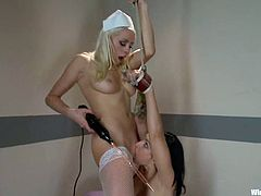 Lorelei Lee and Tori Lux are two sexy chicks in nurse uniform. Brunette girl gets tortured with electricity and also toyed with a strap-on and a vibrator.