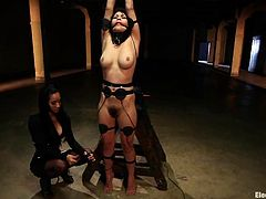 Brunette chick gets tied up by her mistress. Then she also gets stimulated with electricity in some dark basement.