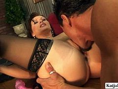 Sexy brunette having jaw dropping ass gets her pussy fucked right on the table. Later she toys her insatiable pussy and sucks boss's meaty cock.
