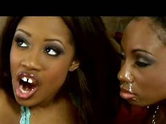 Two skanky tasty looking black whores in raunchy lingerie make out with a horny dude. They bend down to get their puffy shaved cunts pounded in turns by aroused white fucker in threesome sex video by Pornstar.
