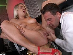 Blonde hottie Lucy Heart is getting naughty with a waiter in a bar. She drives him mad with a deepthroat blowjob and then allows the dude to lick her vag and fuck her holes as hard as he can.