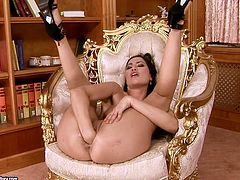 Carmen is experienced porn performer that is able to show explicit porn scenes. She stretches her pussy lips in self fisting action. Then, the other girl joins her on set stretching Carmen's pussy wide.