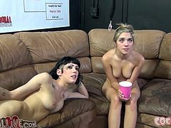 A brunette and a blonde show their amazing blowjob skills in hot threesome video. Then they also masturbate lying on a sofa.