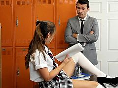 Naughty schoolgirls are always fucking hot. But what happens when such a beautiful schoolgirl begins to act really naughty? Being bored of her class hour she decides to take a little break and takes off her black panties to play with her snatch. Her teacher caught her masturbating and now he realizes how lucky he is.