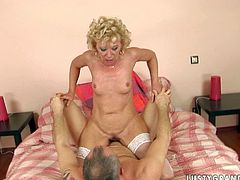 Insanely horny granny is wearing white nylon stockings filming in hardcore old young fuck scene. She gets on top of hard shaft stretching her butt hole wide ass fuck. This bitch is torn slut. Her ass hole is a big sore.