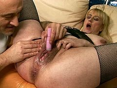 This dude wants to get really wild with this slut's twat. He drills her snatch with various sex toys to make it wet and ready. Then he fists her hairy s
