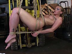 Filthy whore is up for naughty bondage porn session. She loves restraint and sexual tortures because this is the only way she is sexually satisfied.