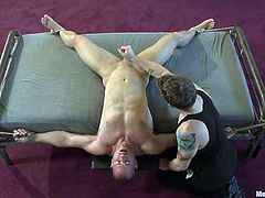 This is a damn gay BDSM porn video and one guy will make some fun of the other one! If you are finished faggot, then have fun watching!