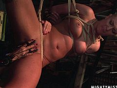 Spoiled blondie with a lovely pair of big tits is taken to the limit with a few sophisticated BDSM tools. This gorgeous nymph is completely at the mercy of her horny mistress.