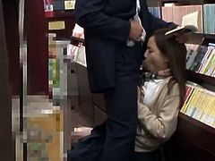 Sweet asian schoolgirl Miyu Kiritani got seduced by an older man in the library. He lifted up her uniform and sticked his old cock deep inside that tight teenage pussy!