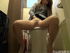 The naughty Asian Miu Fujisawa got in the toilet room and decided to masturbate there, just to loosen up and release tension.