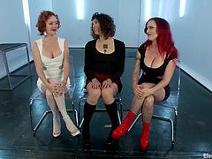 Two filthy and cruel mistresses Audrey Hollander and Mz Berlin are going to make this slutty girl feel some pain. They are so fucking isnane.