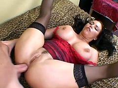 Busty brunette milf Angelica Sin shows her big boobs to some guy and pleases him with a blowjob and a titjob. Then she takes his wang into her butt and gets it fucked deep and hard.
