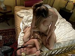Hot White chick gets choked and face fucked by passionate shemale babe. Later on this girl gets fucked hard doggystyle.