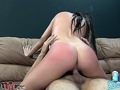 Slim brunette toys her pussy with different dildos and gets fingered. After that she takes big dick in her pussy and gets a mouthful.