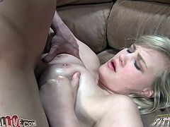 Lustful blonde chick gets toyed and fingered at the same time. Later on she gives blowjob & titjob combo and gets rammed.