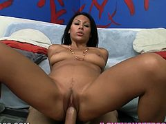 This beautiful brunette is called Cassandra Cruz and she's having a great time getting fucked and sucking this big cock in this POV clip.