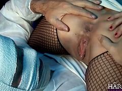 Robyn Truelove and Jordanna Black are two naughty nurses. The blonde babe sucks his cock, while the other one sits on his bandaged face.