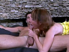 Slim brown-haired milf Sierra Sinn is having a good time with her neighbour. She sucks and rubs his dick ardently and seems to enjoy it much.