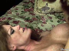 Darla Crane shows her oral talents in blowjob action with Wolf Hudson