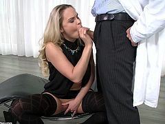 Sizzling blonde mom Barra Brass is having fun with some guy indoors. She gives him a nice blowjob and then welcomes his wang in her pussy and asshole.