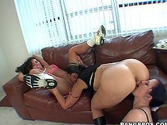 A slutty fucking couple of whores suck on a huge hard cock and then get it shoved balls deep into their holes. Check it out right here!