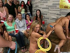 Capri Cavalli, Jamie Valentine, Rose and Teal Conrad are having a party with their friends. The sluts demonstrate their hot bodies and then show their cock-sucking and dick-riding skills.