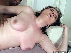 Whore wife gets her pussy fucked hard by one black dude while her husband is out. He spanks her ass and splatters her face with cumshots.
