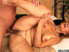 Experienced blonde nanny gets naked and slides her mature hands all over her wrinkly and fluffy body finding a wet and familiar cave that burns with desire. Then, she takes a young and inexperienced cock and royaly blows and mounts it, sucking i