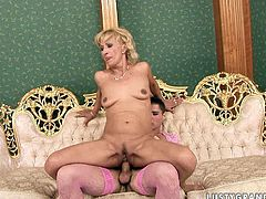 Nasty blonde whore of mature age is getting her clam polished by horny crossdresser. Later in the clip, hussy jade eats his ass while he stands on his all four.