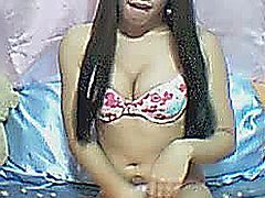 Really hot asian shemale undress in front of the webcam and masturbates her cock till he gets orgasm. Asian shemale spreading and fingering her anal while stroking same time her cock.