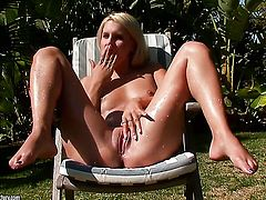 Blonde Brandy Smile makes her sexual fantasies a reality alone
