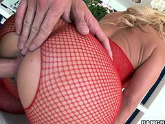 Horny blonde Austin Taylor wearing a fishnet bodystocking is having fun with some man. She shows him her holes and then they have ardent sex in cowgirl and other positions.