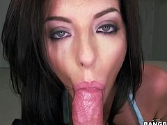 Hit play and enjoy this amazing POV video featuring the stunning brunette babe with green eyes Nikki Lavay who sucks and fucks for mouthful of cum.