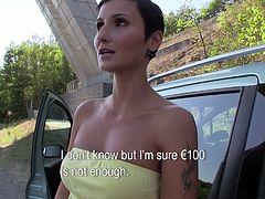 Seductive mommy agrees to strip for money. Then she is given another attractive offer that she can not refuse. So she sucks big dick of a perve outdoor.