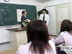 Health class in Japanese school is mundane bordering on tediously drab and it shows with schoolgirls all sitting with blank stares at their attractive milf teacher but things go awry in all the right CFNM ways when one student suggests the male
