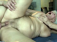 This old woman has a huge sexual appetite. She gives her lover one hell of a blowjob and then she makes him lick her hairy snatch. A bit later she gets into sideways position to let him pound her twat hard and deep.