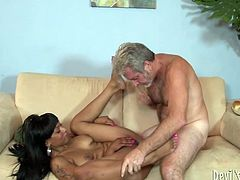 Old dude likes to lick black pussy of this ebony bitch. Later her thrusts his cock in her pussy and drills her without mercy in missionary style position.