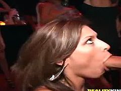 Sexy brunette Victoria Lawson is doing all what she can to please this dude. She sucks and rubs his schlong hungrily and then takes a great ride on it.
