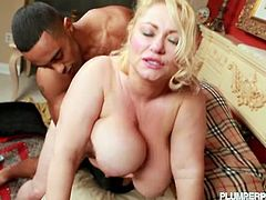 See the busty bbw blonde Samantha 38g pleasuring a British fan with a blowjob in this hot video. Then he's ready to make her tits bounce and her cunt explode of pleasure.